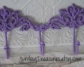 Lavender Purple. Double Scroll scrolly Iron Wall Hook. 5 hooks. Towel / Jewelry Hook / Shabby  Cottage Chic /Victorian Decor. Nursery