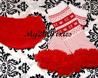 Ready to ship- Set Fair Isle- Baby Ruffle Bum Baby Bloomer Diaper Cover and Legwarmers with chiffon ruffle- Christmas Photo Prop