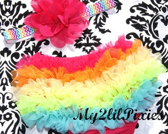 Rainbow Bright-  Ruffle Bum Baby Bloomer and Matching Headband -Photo Prop Set- Excellent Summer Photo Session Set
