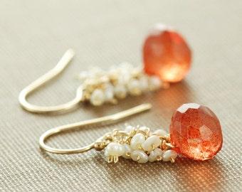Orange Stone Pearl Dangle Earrings, Gold Cluster Earrings, Pumpkin Orange, aubepine