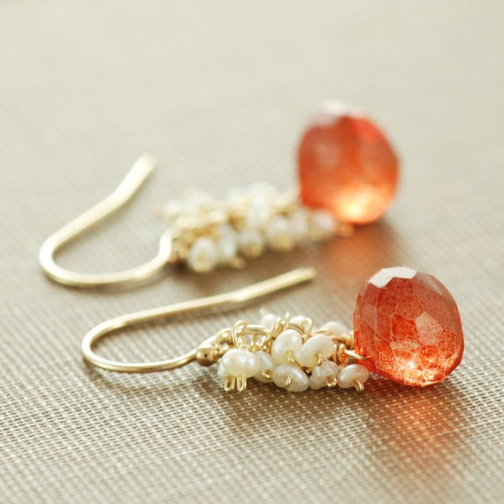 Orange Stone Pearl Dangle Earrings, Gold Cluster Earrings, Pumpkin Orange, aubepine
