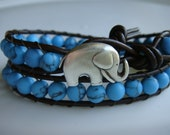 Turquoise Beaded Leather Wrap Bracelet with Elephant Button