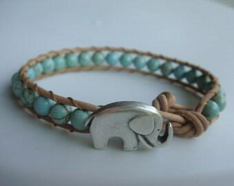 Elephant Bracelet, Green Magnesite Beaded Leather Bracelet, Good Luck