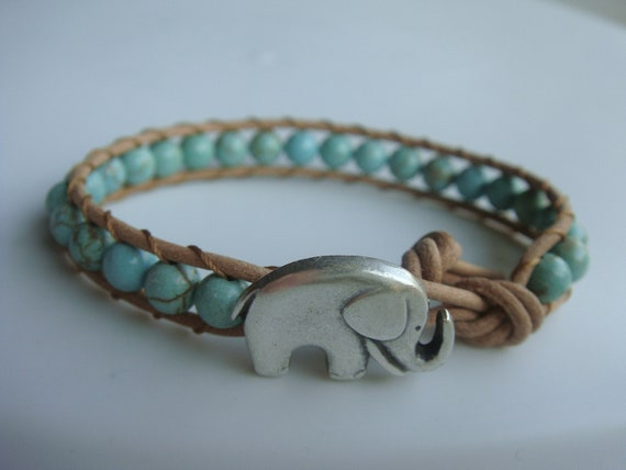 Elephant Bracelet, Green Magnesite Beaded Leather Bracelet, Good Luck