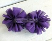 Chiffon Ballerina Pinwheels - Set of 2 ROYAL PURPLE - Craft Flowers Headband Flowers Chiffon Flowers