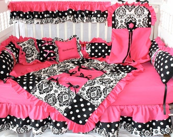 Hot pink damask dot crib bedding