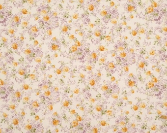 Mary Rose Fabric Classic 15D Cotton Floral Fabric Yellow Purple