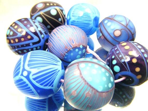 Moogin bead-  eclectic purples lampwork bead set - SRA