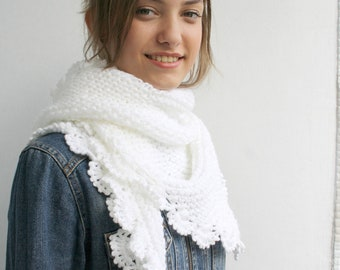 Handmade White Triangle  Midi Shawl scarf collar Bridal Shawl Cowl Mothers Day  Gift Under 75
