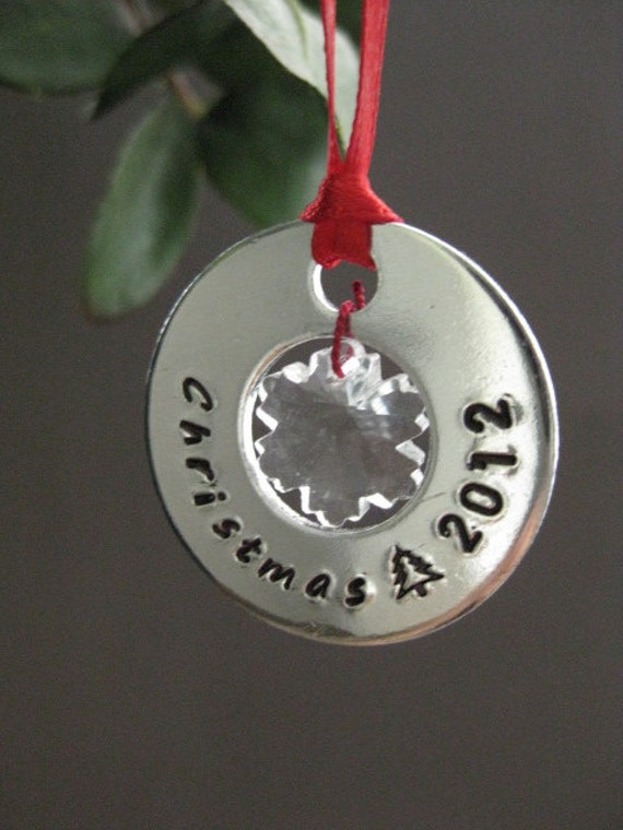Christmas Ornament, Dated with Stamped YEAR and tree with Glistening Sparkling Clear Faceted Snowflake, O 105