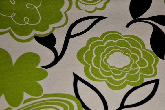 Car Seat Cooler Pad - Cream with Green/Black Scribble Floral - MADE TO ORDER