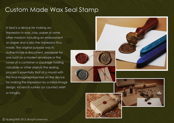 Custom Classic Wax Seal Stamp Wedding Invitation Letter Card Monogram Set with 2 Wax Sticks