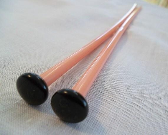 Pair Vintage Pink Plastic Knitting Needles -- Size 5--