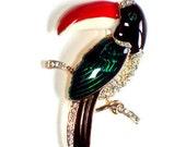 Vintage Art Brooch  Fantastic Estate Collection  Green Lucite on Goldtone Base Metal Rhinestone Toucan Bird   RESERVE for AMALIA