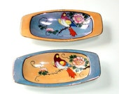 Vintage Lusterware Trinket Dishes, cr. 1950s, Exotic Birds, Peach and Blue Luster, Made in Japan Backstamp    I take CREDIT CARDS