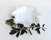 Vintage Fenton Silvercrest Ruffled Candy Bowl Milkglass with Clear Glass Edge 1950s   I Take CREDIT CARDS