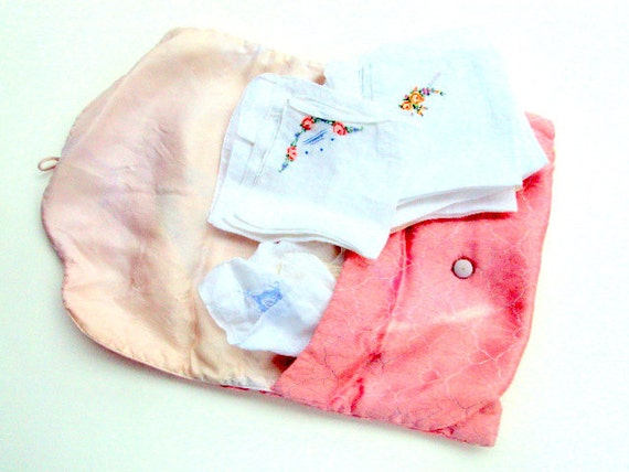 Vintage Lingerie Bag with Satin Lining and 8 Cotton Embroidered and cutwork Hankies 1920s Estate   RESERVE for Kathy