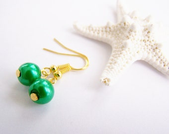 Royal Palm Green - Glass Pearl Earrings - Matching necklace also available - Petite - small - weddings - formal - bridesmaids - bridal