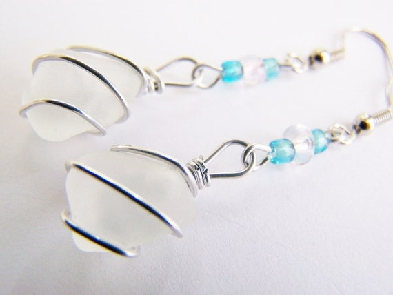 Natural Seaglass Earrings with czech glass beads - OOAK one of a kind - affordable gifts - bridesmaids - weddings