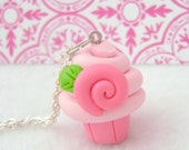 Pink Cupcake Necklace. Polymer Clay