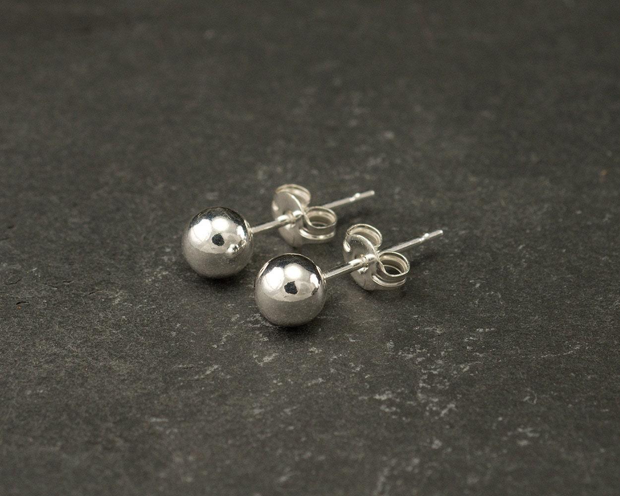 Silver Ball Stud Earrings Silver Ball Studs Silver Ball Earrings Small Silver  Stud