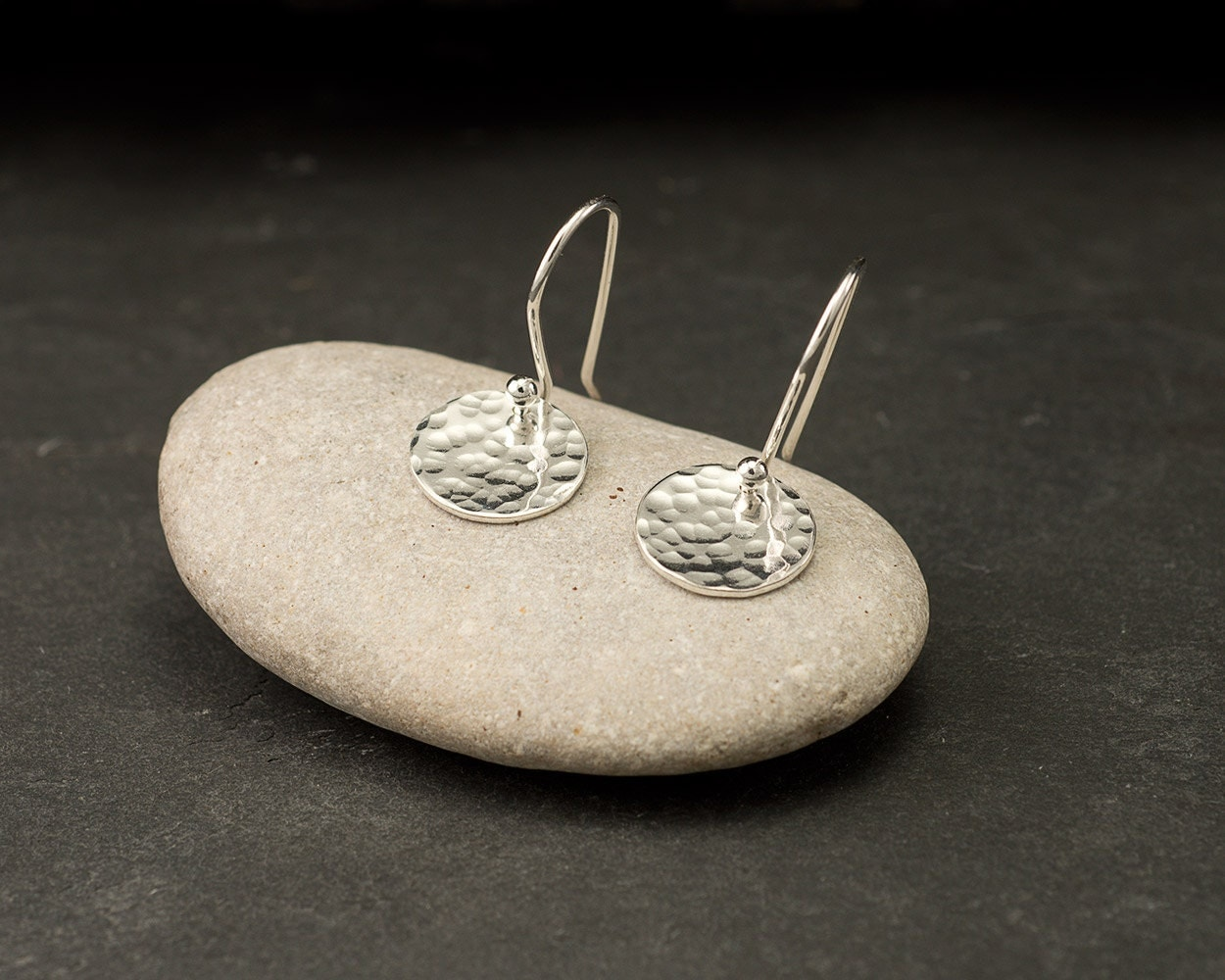 Sterling Silver Hammered Disc Earrings- Simple Silver Earrings- Everyday Dangle Earrings- Small Disc Earrings