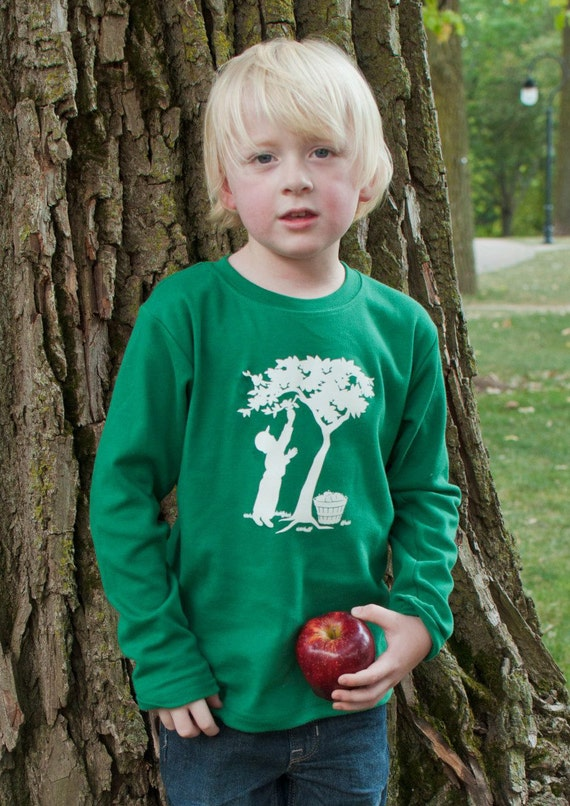 SALE Boy in the Orchard Long Sleeved Nostalgic Graphic Tee in Emerald Green with Soft White
