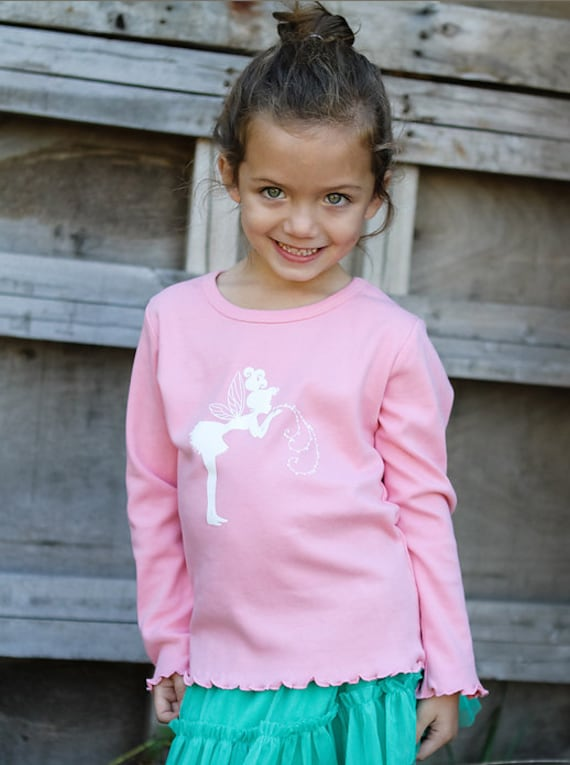 Whimsical Fairy Long Sleeved Nostalgic Graphic Tee in Pink with White