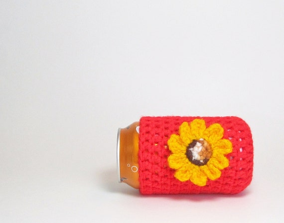 Red Can Cozy Beer Koozie Soda Cozee Pop Cozy Yellow Sunlower Cheerful Daisy Reusable Eco-Friendly Crochet by Lilena