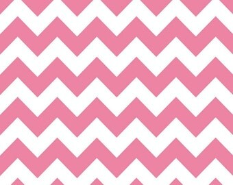 SALE - Riley Blake Medium Chevron in Hot Pink  - Half Yard