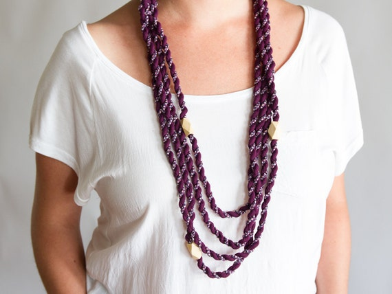 SALE LAST ONE Purple layered necklace - fabric braided