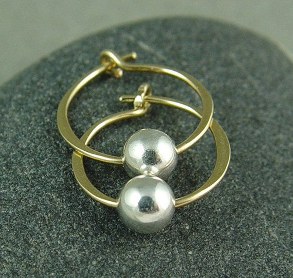 """Tiny Gold Hoops With Silver / Gold and Silver Hoops / Minimalist Hoops / Small Gold Filled Hoops / 1/2"""" Hoops"""