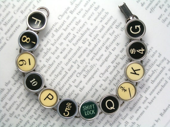Typewriter Key Bracelet With Random Keys Black White Green - Vintage Typewriter Key Jewelry From HauteKeys