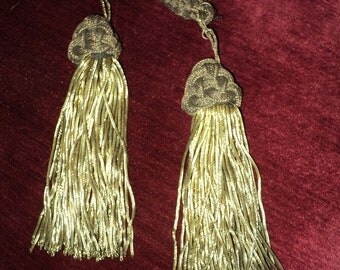 Pair of Gold Bullion Antique tassles perfect for pillows or home decor