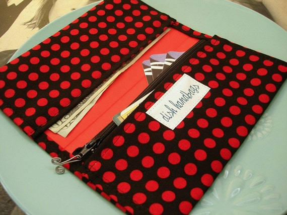 Red and Black Polka Dot Checkbook Cover