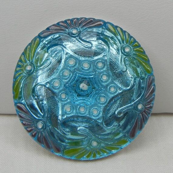 Large Pinwheel Czech Glass Button