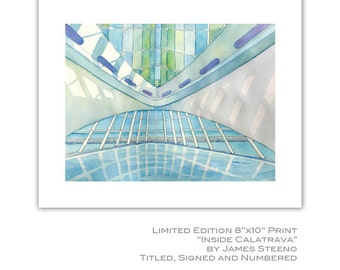 Inside Calatrava Milwaukee Art Museum (MAM) Watercolor Art Print by James Steeno