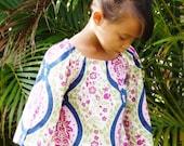 Girls Peasant Dress Midnight Garden Damask Tunic Dress 6mos to 12
