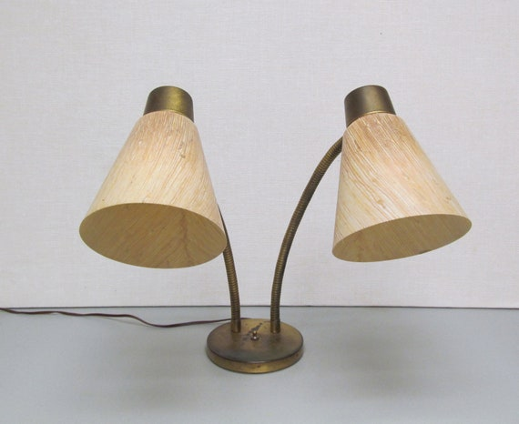 Mid Century Modern Twin Gooseneck Lamp - Vintage Lamp with Fiberglass Cone Shades and Brass