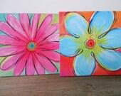 set of 2 posh flower squares, 8x8 prints