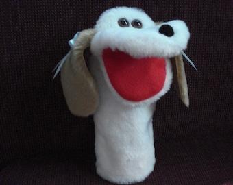 White Dog tan ears satin bows  hand puppet