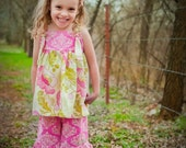 Girls Pink Poppy Ruffle Capri Pant and Boutique Shirt, Pink, Fuschia, Floral, Size XS 6-9 months, Small 1-2 yrs, M 3-4, L 5-6, Xl 7-8,
