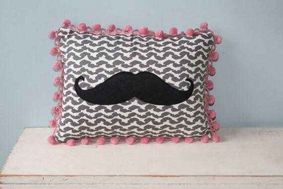 Marvelous Mustache Pillow with Fabulous Fringe