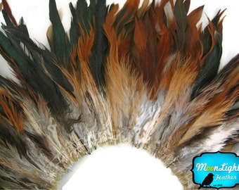 Rooster Feathers, 4 Inch Strip - BROWN BRONZE Strung Schlappens Rooster Feathers : 320