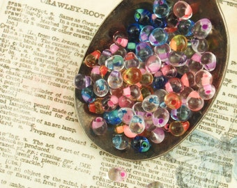 Clear Lined Miyuki Glass Fringe Bead Mix  - Colorful Drops 3mm X 4mm