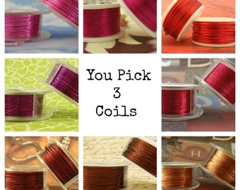 24 gauge Wire Special - YOU Pick 3 - Enameled Coated Copper