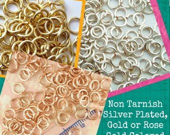 100 Gold or Rose Gold Colored or Silver Plated Jump Rings - 18 gauge 4.5mm, 5mm, or 6mm ID - Non Tarnish Enameled Copper