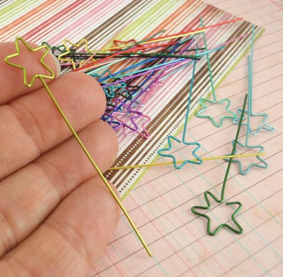 4 Handmade Star Head Pins - You Pick Colors