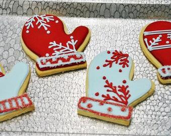Iced Christmas Mitten Cookies - 1 Dozen