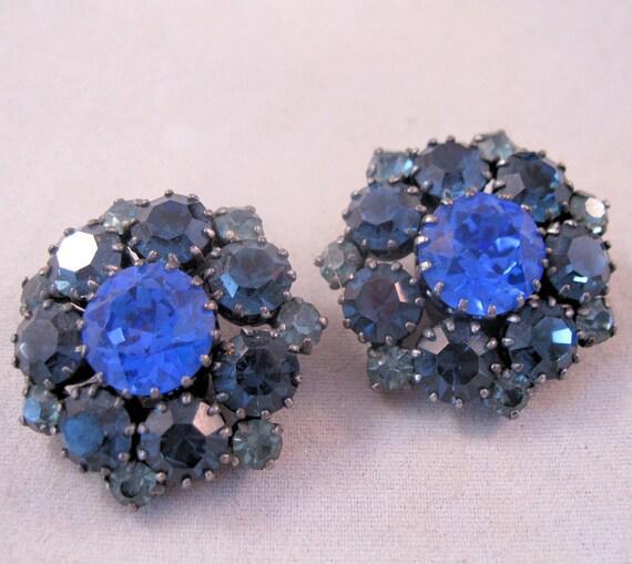 1950s Austrian Crystal Blue Clip Earrings SALE